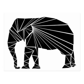Geometrischer schwarzer Elefant Postkarte