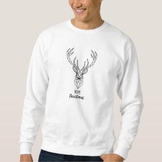 Geometrischer Weihnachtsrotwildkopf Sweatshirt