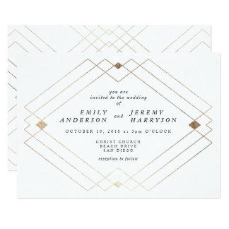 Geometrischer weißes GoldDeko-weiße 12,7 X 17,8 Cm Einladungskarte