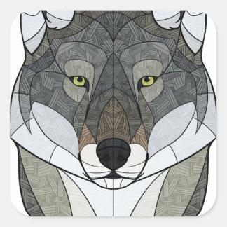 Geometrischer Wolf Quadratischer Aufkleber