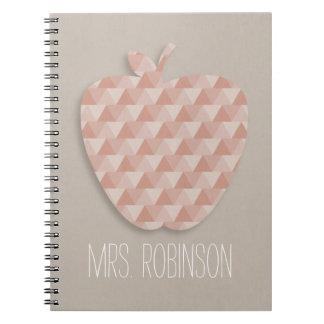 Geometrisches Apple-Lehrer-Notizbuch Spiral Notizbücher
