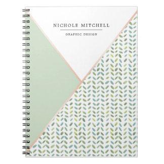 Geometrisches Aquarell-Blatt-Muster-Notizbuch Notizblock