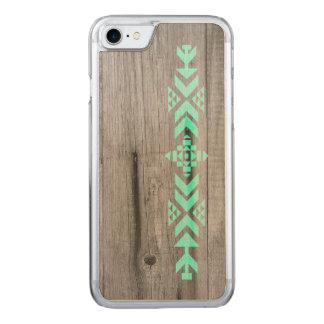 Geometrisches aztekisches hölzernes Muster Carved iPhone 8/7 Hülle