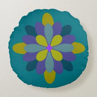 Geometrisches blaues Grün lila auf aquamarinem Rundes Kissen