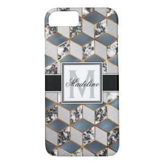 Geometrisches blaues Marmorgold personalisiertes iPhone 8/7 Hülle