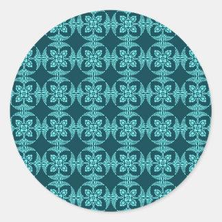Geometrisches Blumen in den Aqua-Schatten Runder Aufkleber