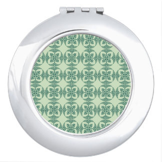 Geometrisches Blumenmuster im Grün Taschenspiegel