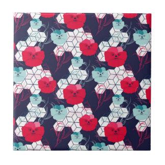 Geometrisches Blumenmuster Keramikfliese