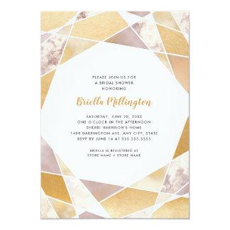 Geometrisches Brautparty laden | Imitat-Goldmarmor Karte