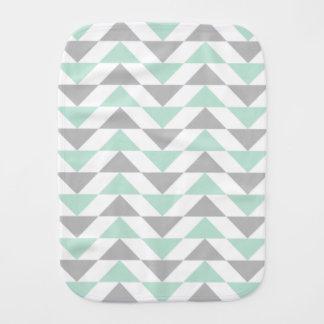 Geometrisches Dreieck-Minzen-Grün-graues Baby Spucktuch