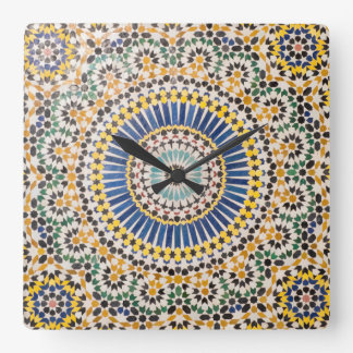 Geometrisches Fliesenmuster, Marokko Quadratische Wanduhr