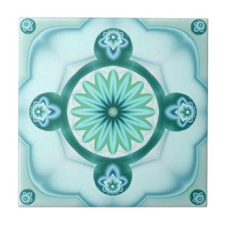Geometrisches Fraktal in der aquamarinen Keramikfliese
