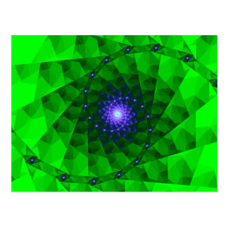 Geometrisches grünes Fraktal Postkarte