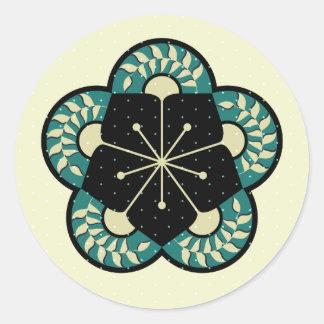 Geometrisches Heliconia Fan-Muster Runder Aufkleber