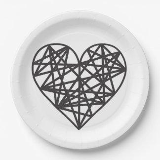 Geometrisches Herz Pappteller