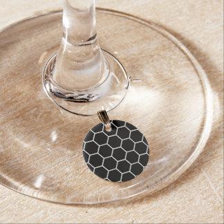 Geometrisches Hexagon-Schwarzweiss-Muster Glasmarker