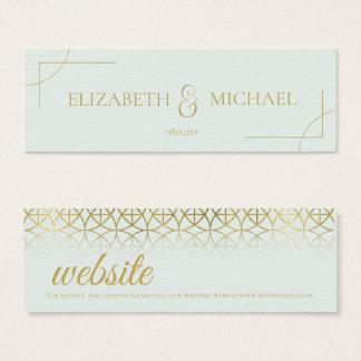 Geometrisches Hochzeits-Einsatz-Gold/tadelloses Mini Visitenkarte