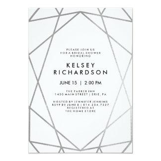 Geometrisches Imitat-Silber auf weißem Brautparty Karte