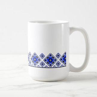 Geometrisches Internatsschüler-Muster - Blau - Kaffeetasse