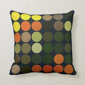 Geometrisches Kunst-Gelb, Orange, grüne Kreise Kissen