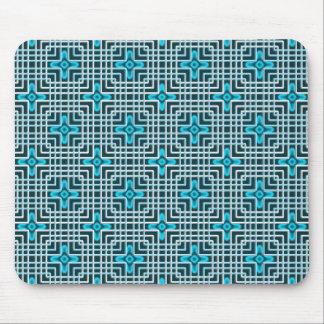 Geometrisches Muster der blauen NeonBlumen Mousepads