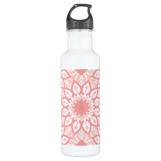 Geometrisches Muster der rosigen BlumenMandala Trinkflasche