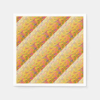 Geometrisches Muster des orange rosa Kubismus Papierserviette