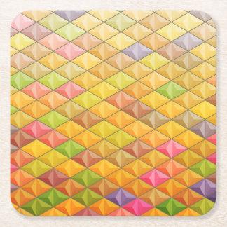 Geometrisches Muster des orange rosa Kubismus Rechteckiger Pappuntersetzer