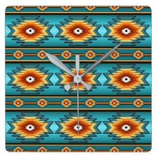 Geometrisches Muster des südwestlichen Navajos Quadratische Wanduhr