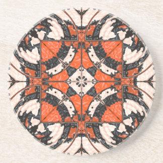 Geometrisches orange und schwarzes abstraktes untersetzer