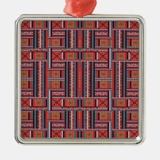 Geometrisches Perlen-Effekt-Muster-ethnischer Silbernes Ornament