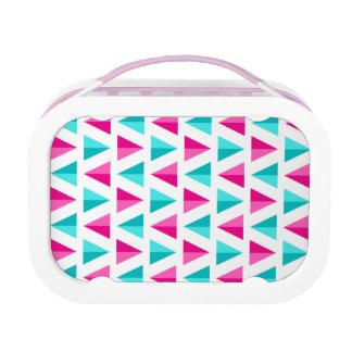 Geometrisches Rosa-u. Aqua-blaues Dreieck-Muster Brotdose