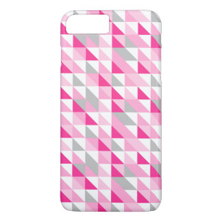 Geometrisches rosa weißes graues Dreieck-Muster iPhone 8 Plus/7 Plus Hülle