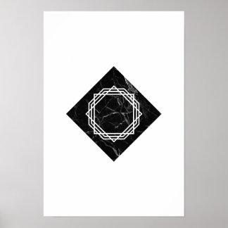 Geometrisches schwarzes Marmorplakat Poster