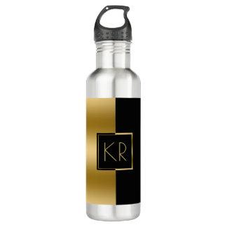 Geometrisches Schwarzes u. Goldmoderner Entwurf Trinkflasche