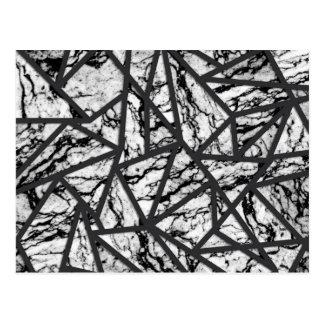 Geometrisches Schwarzweiss-Marmordreieck-Muster Postkarten