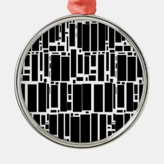 Geometrisches Schwarzweiss-Muster Geos 10 Silbernes Ornament