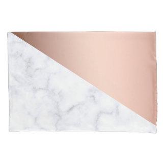 geometrisches weißes MarmorRosengold des eleganten Kissenbezug