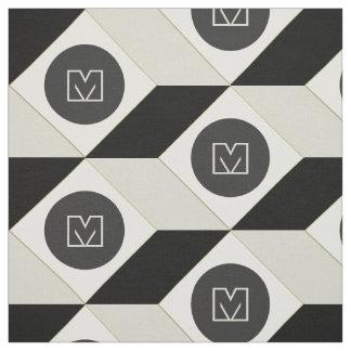 Geometrisches Würfel-Muster-Monogramm Stoff