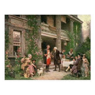 George Washington an Bartrams Garten Postkarte