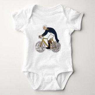 George Washington auf Fahrrad mit Viertelrädern Baby Strampler