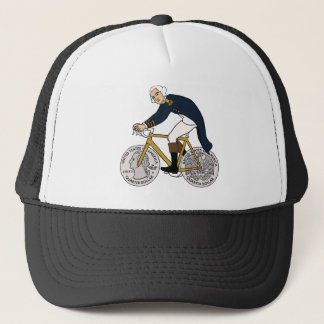 George Washington auf Fahrrad mit Viertelrädern Truckerkappe