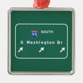 George Washington-Brücke NYC New York City NY Silbernes Ornament