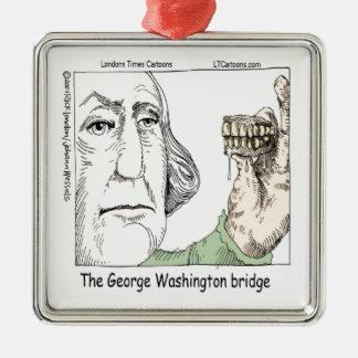 George Washington-Brücke u. Gebiss-lustiges Silbernes Ornament
