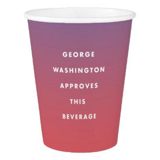 George Washington genehmigte Getränkeschale Pappbecher