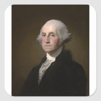 George Washington - Vintages Kunst-Porträt Quadratischer Aufkleber