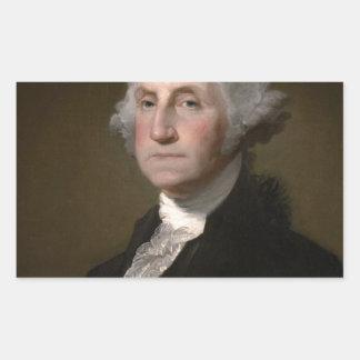 George Washington - Vintages Kunst-Porträt Rechteckiger Aufkleber