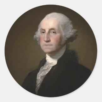 George Washington - Vintages Kunst-Porträt Runder Aufkleber