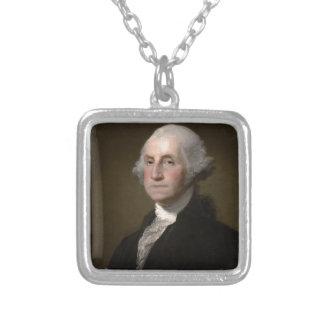 George Washington - Vintages Kunst-Porträt Versilberte Kette
