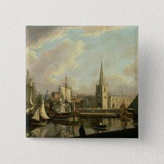 Georges Dock-Becken, Liverpool, 1797 (Öl auf canva Quadratischer Button 5,1 Cm